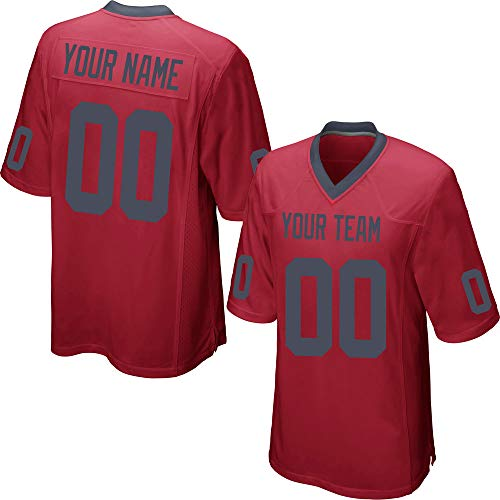 Custom Men's Red Mesh Football Jersey Stitched Team Name and Your Numbers,Black Size XL ()