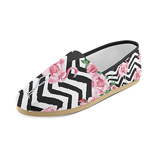 InterestPrint a dog wearing gray pirate hat Loafers Casual Shoes for Men Women Beautiful Tropic Pink Flamingo and Rose Flowers oVEUzIFSNZ