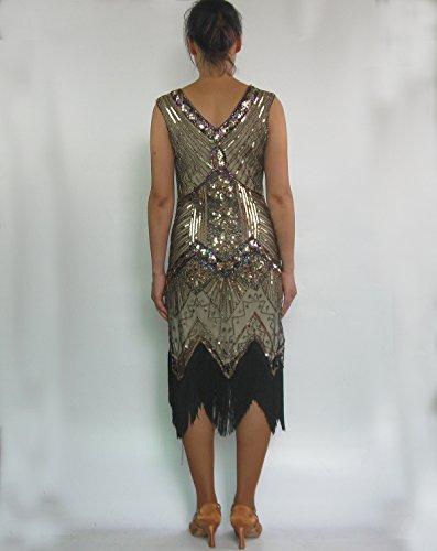 Whitewed Lungo Deco Frangia Scollo A V In Rilievo Pesante Di 20 Abiti Di Abbigliamento In Stile Gatsby Oro