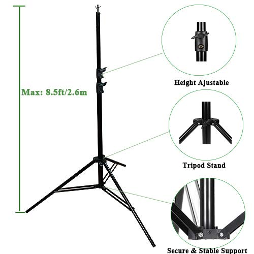 Kshioe Upgraded Background Stand,8.5ft-10ft Adjustable Heavy Duty Backdrop Support System Kit with Carry Bag for Photography Photo Video Studio, Photography Studio by Kshioe (Image #4)