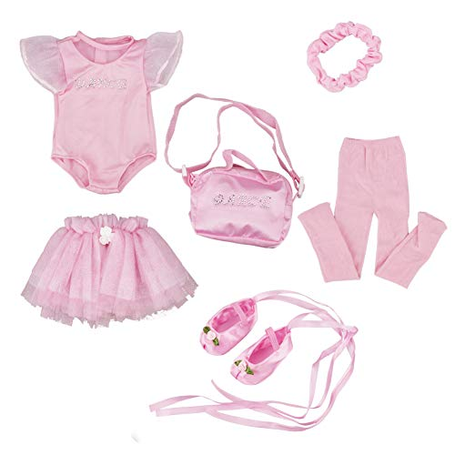 GirlDreamHouse Pink Ballet 6 Pcs Clothes Outfit, Fits 18 Inch American Dolls Soft Velour Chiffon & Tulle Pink Doll Ballet Dress Set