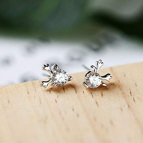 Tmrow 1pair Women Little Elk Deer Earrings Stud Cute Earrings