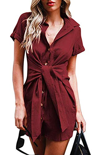(LAWBUCE Women's Casual Mini Shirt Dress Short Sleeve Front Tie Bandage Pencil Party Long Shirts Wine Red)