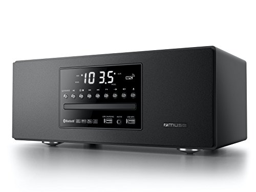 Muse M-680 BTC edler CD-Spieler und Bluetooth-Lautsprecher mit UKW-Radio (USB, NFC, AUX-In, Uhr, Wecker, 40 Watt, Holzgehäuse, Fernbedienung), kompaktanlage, schwarz