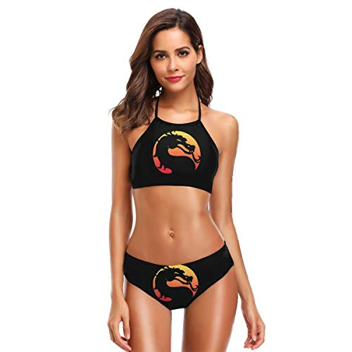 Ainlgchoo! Women's Sexy Split Bikini Set Halter Printed with Mortal Kombat X Men Popular Swimsuit Black XXL for $<!--$24.99-->