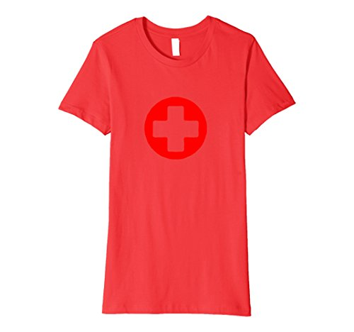 Lifeguard Ideas Costumes (Womens Rounded Medic Cross Red Nurse Lifeguard T Shirt deluxe Medium)
