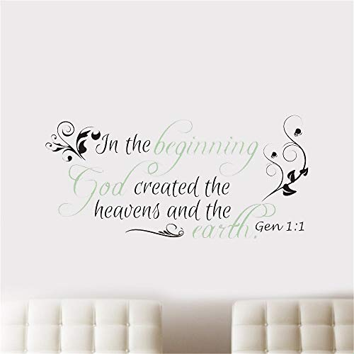 Mcdeog Vinly Art Decal Words Quotes in The Beginning God Created The Heavens and The Earth ()
