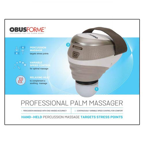 ObusForme Professional Palm Massager, Variable Speed Percussion Massage, Target Stress Points With One-Handed Precision, Push Button Heat Option, Includes Arm/Calf and Upper Leg Massage Attachments