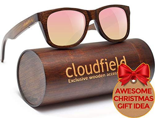 Classics Wood Designer (Wood Sunglasses Polarized for Men and Women by CLOUDFIELD - Wooden Wayfarer Style - 100% UV Protection - Premium Build Quality - Bamboo Wooden Frame - Perfect Gift)