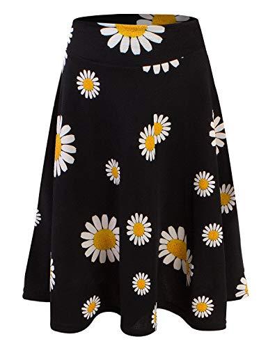 Doublju Womens High Waist Midi A-Line Skirt BLACKDAISY 2XL