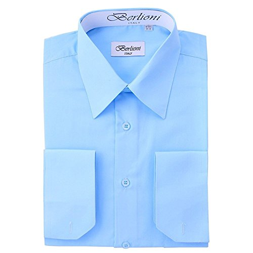 BERLIONI MEN'S ITALIAN FRENCH CONVERTIBLE CUFF SOLID DRESS SHIRT-LIGHT BLUE-L (16-16½) sleeve 32/33
