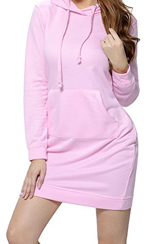 YeeATZ Women Pink Slim Fit Pocket Front Hoodie Mini (Officer And Gentleman Outfit)