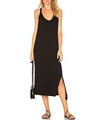 ALLY-MAGIC Womens Sleeveless Side Split Long Dress Casual Tank T-Shirt Midi Dress