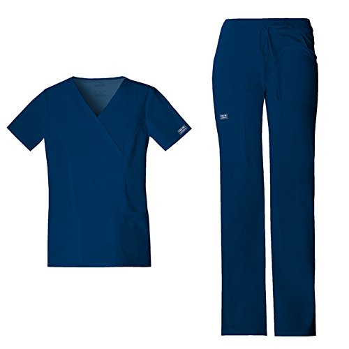 cherokee-womens-workwear-core-stretch-mock-wrap-top-4728-drawstring-flare-leg-pant-24001-scrub-set-n