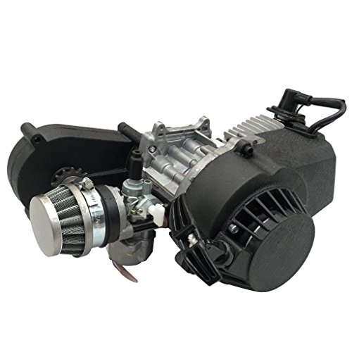 TDPRO 2 Stroke Engine Motor with Gear Box for 47cc 49cc 50cc Mini Pocket Bike Gas G-Scooter ATV Quad Bicycle Dirt Pit - 3rd Bearing Support