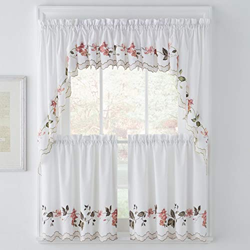 BrylaneHome Floral Trellis Swag Pair - Multi - Cotton Swag Floral