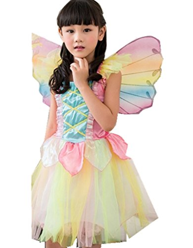 Rainbow Angel Cosplay Butterfly Fairy Costumes Party Kids Princess Dress