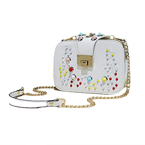 PU shoulder Fashion Crossbody Closure Tote Bags Single Girl Handbag Bag White Arichtop Women Decor Flower Buckle qIaapw