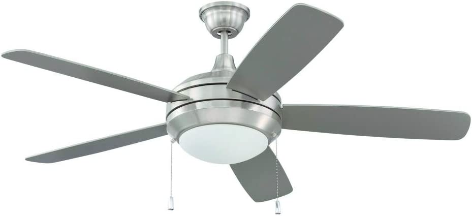 Craftmade HE52BNK5-LED Helios Geometry Dual Mount 52 Ceiling Fan with 14 Watts LED Light Kit, 5 Plywood Blades, Brushed Polished Nickel