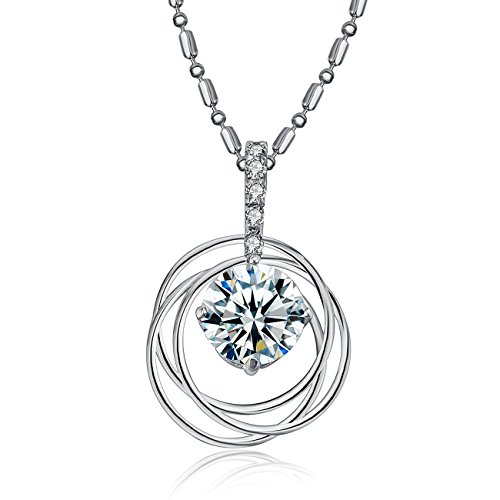 eManco Trinity Rings Cubic Zirconia Pendant Necklace for Women with Silver Tone Chain, Bride Jewelry (Cubic Zirconia Trinity Pendant)