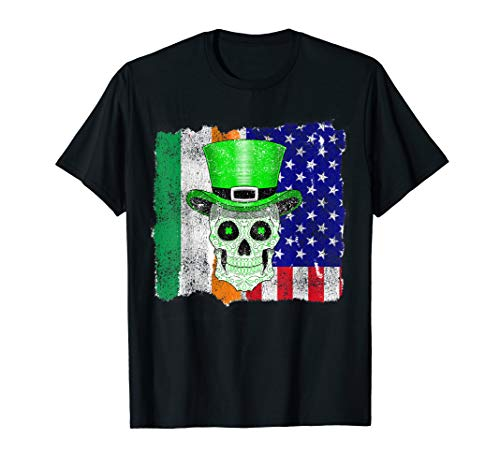 St Patricks Day Irish Sugar Skull American Flag T-Shirt Gift]()