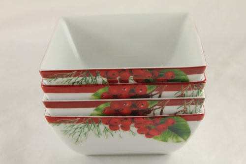 Charter Club Grand Buffet Square Red Berry Bowls Set of 4
