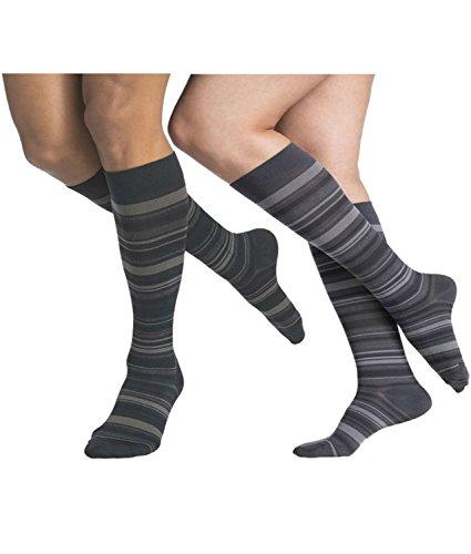 Sigvaris 832 Microfiber Shades Women's Closed Toe Knee High Socks - 20-30 mmHg Long Mini-Stripe Navy LL Long (Ames Stripe)
