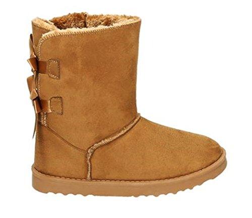 King Of Shoes Damen Stiefeletten Schnee Stiefel Boots Flache Schlupfstiefel Warm Gefüttert Winter Schuhe 783 Camel 18