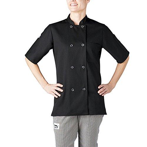 Chefwear 4465-30 Women's Short Sleeve Chef Coat S Black by Chefwear