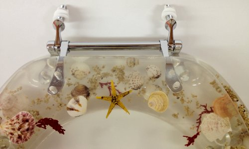 Seashell And Seahorse Resin Toilet Seat Standard Size