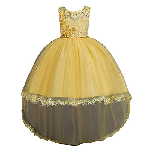 Super frist Girl Princess Dress Flower Girl Lace Trail Dress Child Show Dress Skirt Birthday Party Dress(Yellow/90cm(1-2 Years)) -