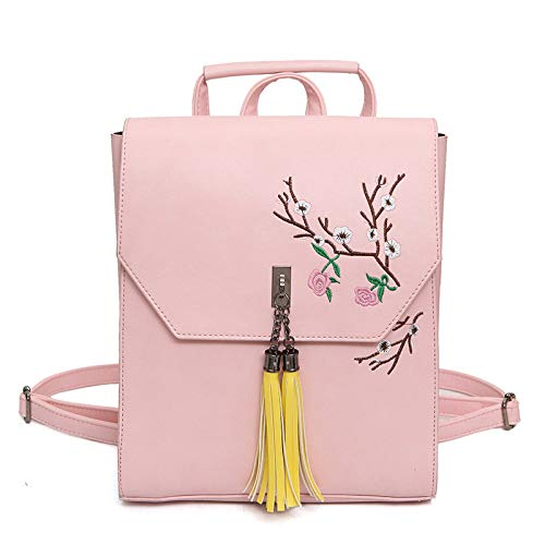 Backpack Embroidery Bag Girl Embroidery College Woman Pink Backpack Retro Fashion Pu Style Shoulder t6IUqwq