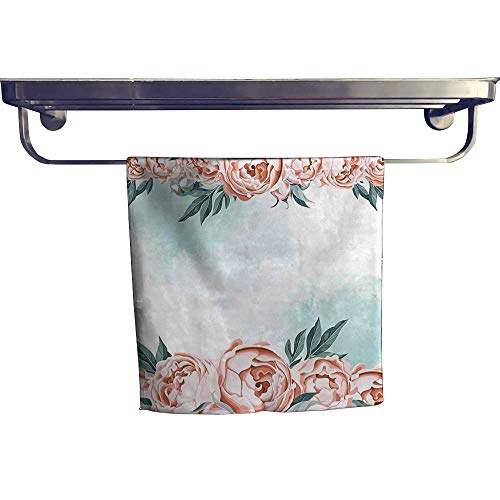 (Beach Towel,with Rose Borders Aged Aquarelle Art Bridal Flowers Wedding Theme Light Blue Coral,Super Soft & Absorbent Fade Resistant Cotton Terry Towel W 20