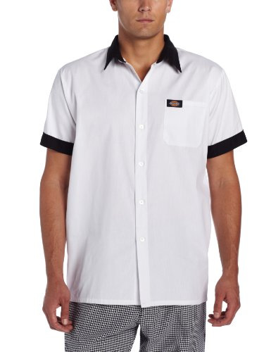 Dickies Men's Pearl Button Cook Shirt, White/Black, X-Large
