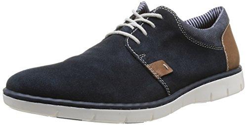Rieker 17512 - zapatos con cordones de cuero hombre azul - Blau (pazifik/amber/denim / 14)