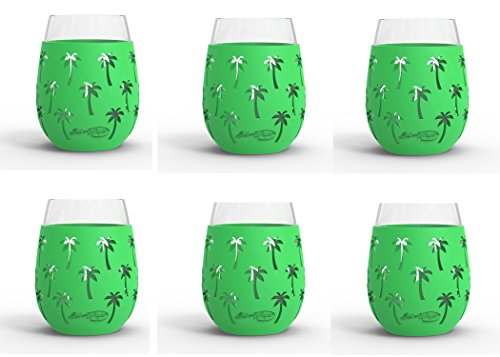 Palm Glasses - Wine Glass - 18oz Indoor and Outdoor Glass with Protective Silicone Sleeve - BPA Free (Palm Tree Set of 6)