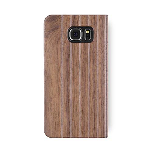 Galaxy S6 Case. iATO Real Wooden Premium Protective Folio flip Book Type Cover. Unique, Stylish & Classy Walnut Wood Bumper Accessory Samsung Galaxy S6 by iATO