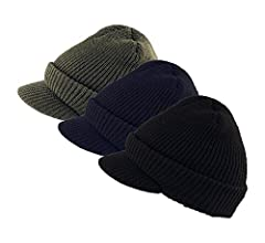 6e76a6e13dc Genuine Military Wool Jeep Cap with Lid - 3 Pack