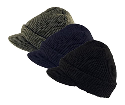 Genuine Military Wool Jeep Cap with Lid - 3 Pack, Variety Pack (OD,Black,Navy Blue) Made in (Military Jeep Caps)