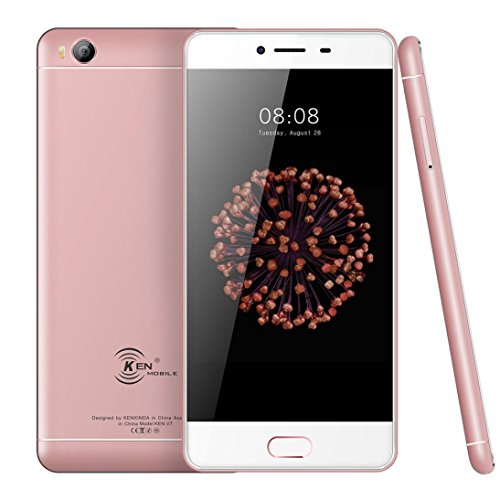 Hometom Cell Phones, 5'' Unlocked Smartphone - Android 6.0-8GB +1GB RAM - IPS GSM GPS 4G Phone (Rose Gold)