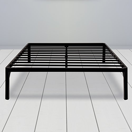 SLEEPLACE 16 Inch High Profile Round Edge Tall Steel Slat Bed Frame / Non-Slip Support/ SS-3000 (KING / 16 INCH - Round Edge