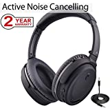 Avantree Active Noise Cancelling Bluetooth 4.1 Headphones Mic, Wireless Wired Comfortable Foldable Stereo ANC Over Ear Headset, Low Latency TV PC Phone - ANC032 [24M Warranty]