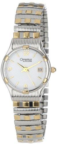 Caravelle by Bulova Women's 45M03 Expansion Bracelet White Dial Watch