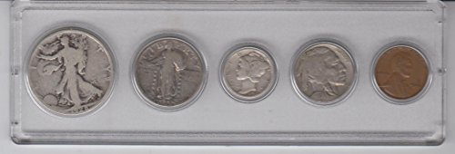 1928 Birth Year Coin Set (5) Coins - Silver Half dollar, Silver Quarter, Silver Dime, Nickel, and Cent All Dated 1928 and Encased in a Plastic Display Case Good - Very Good