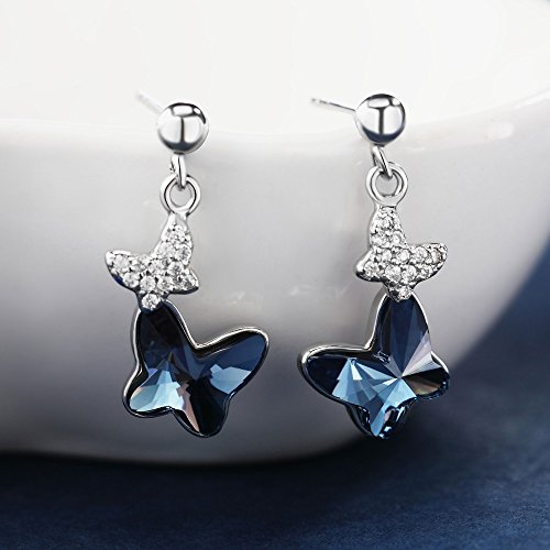 Sterling Silver Blue Butterfly Earrings, T400 Drop Stud Earrings Made with Swarovski Element Crystals Gift by T400 (Image #3)