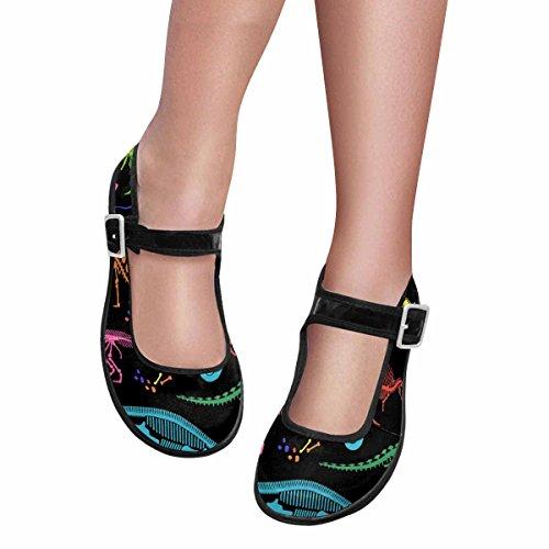 InterestPrint Womens Comfort Mary Jane Flats Casual Walking Shoes Multi 13 Gvg87U