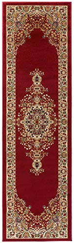 Antep Rugs Siesta Collection Traditional Oriental Polypropylene Indoor Runner Rug (Maroon/Beige, 2