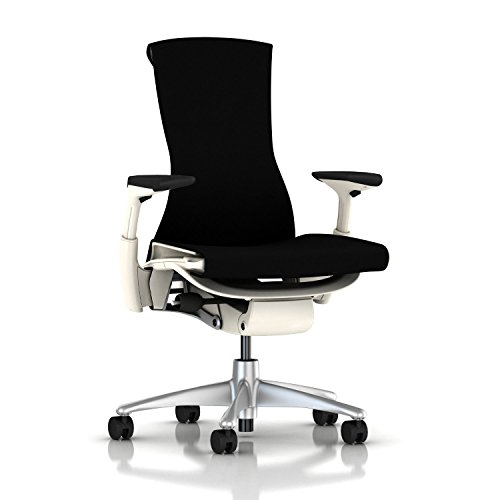 Herman Miller Fabric Chair - Herman Miller Embody Chair: Fully Adj Arms - White Frame/Titanium Base - Standard Carpet Casters