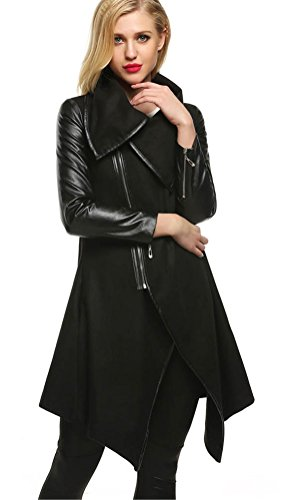 Long Black Leather Coat - 5