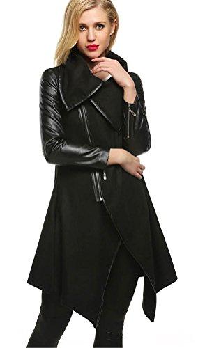 Ladies Leather Mid Length Jacket (Qearal Women Oblique Zipper Lapel Long Sleeve Irregular Patchwork Woolen Coat Outwear (Black, L))